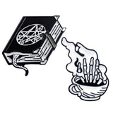 Black Brooch Witch Magic Book Lizard Tail Hand Bone Coffee Cup Wake Up Dead Skeleton Enamel Pin Badge Punk Jewelry Gifts