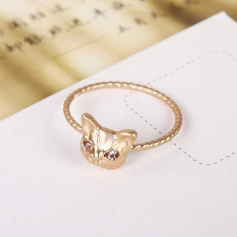 Fashion 1PC/2PC Golden/Black/Silver Color Cute Cat Rhinestones Women Jewelry Ring For Female Gifts