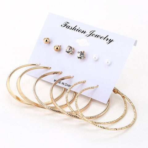 XIYANIKE 6 Pairs/Set Fashion Gold Color Silver Color Punk Crystal Stud Earrings Set For Women NEW Brinco Costume Jewelry E1575