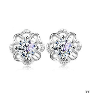 YOBEST Hot Sale Romantic Jewelry Stud Earrings For women Wedding Elegant Silver Color AAA Cubic Zirconia Stone Earring