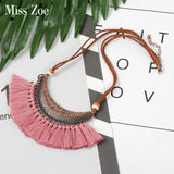 21 colors Vintage Bohemian Ethnic Tassel Necklace for Women Leather Rope Statement Pendant Necklace BOHO Jewelry Accessories