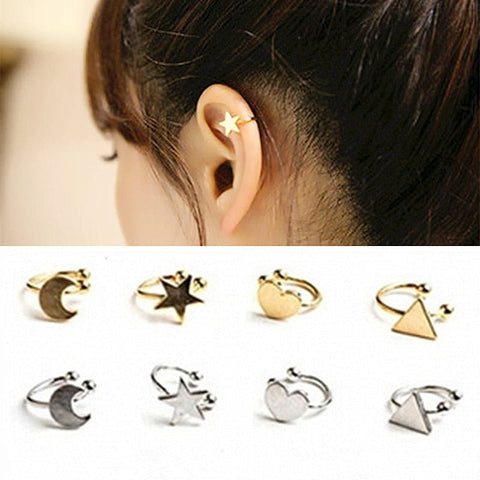 Korean Style Heart Triangle Moon Star Ear Cuff Clip On Earrings For Women Girls Wedding Jewelry Invisible Without Pierced Ears