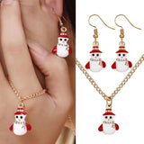 2pcs Elk Snowman Shape Jewelry Sets For Women Decoration Enamel Necklace Earrings Costume Jewelry Sets Ladies Christmas Gifts