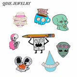QIHE JEWELRY Cartoon pins and brooches Cartoon Character Wine Coffee Alien Skeleton Lapel pin Badges Brooch Pins collection