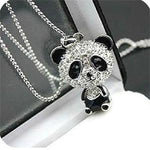 Cute Costume Jewelry Sliver Color Alloy Panda Design Pendant Bling Bling Necklace New For Women Girl Kawaii Gift New