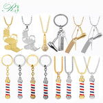 RJ Hot 14 Style Hip Hop Barber Shop Tools Necklaces 3D Barber Pole Razor Dryer Scissors Comb Hairdresser Pendant Collier Jewelry