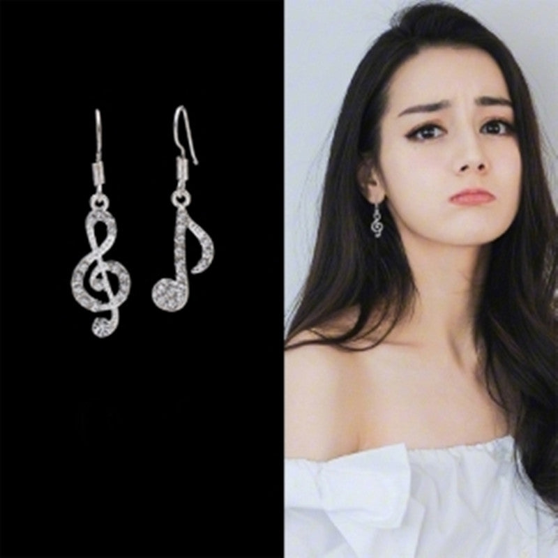 hot new hot personality fashion high quality cute popular special music dream symbol asymmetrical earrings actress with the sam