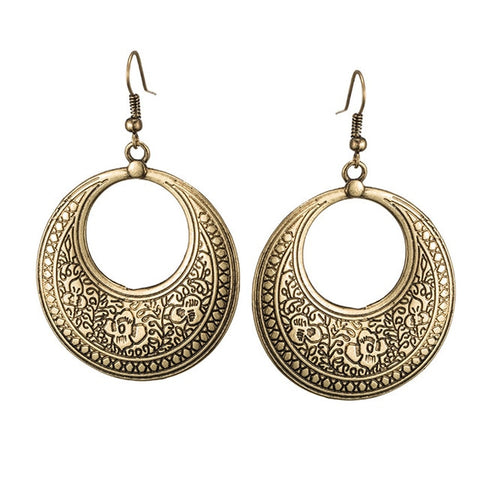 Ethnic geometric silver golden indian earrings jewelry vintage dangle statement earrings for women bohemian earings jewellery