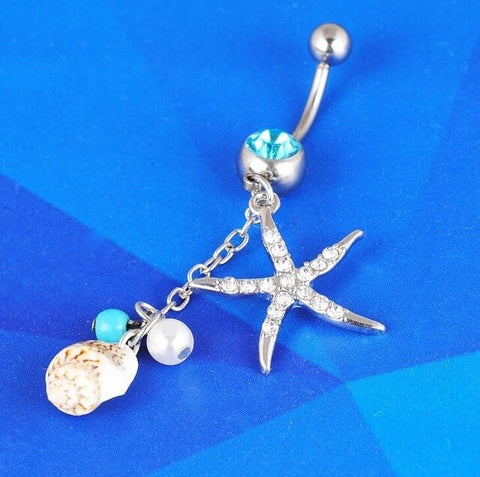 MODA JOYAS Romantic Rhinestone Body Jewelry Barbell Button Navel Belly Ring for Dance