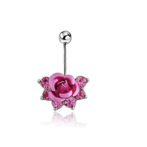 Trendy Charming Rose FLOWER Body Piercing Jewelry Belly Navel Ring With Chain Body
