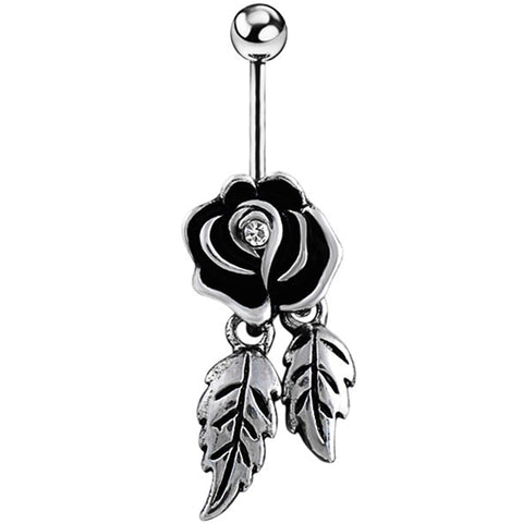 Black Rose Leaf Belly Piercing Ombligo Belly Button Rings Navel Piercing Nombril Belly Ring Earring Pircing Jewelry