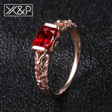 X&P Cute Rose Gold Silver Big Red White Crystal Rings for Women Engagement Wedding Fashion Cubic Zirconia Women Ring Jewelry