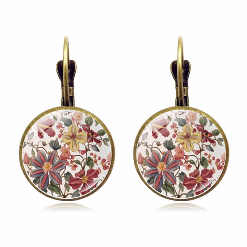 1 Pair Yoga Symbol Zen Buddhism Brown Earring Silver Amulet  High Quality Exquisite Flower Glass Cabochon Earrings Gift