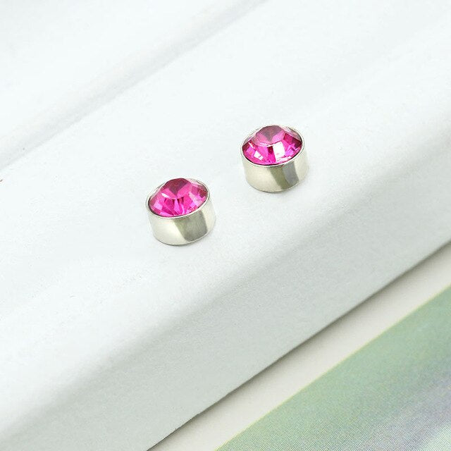 Candy Colors Crystal Double Side Parts Magnet Silver No piercing Jewelry for Women Double Sided Stud Earrings
