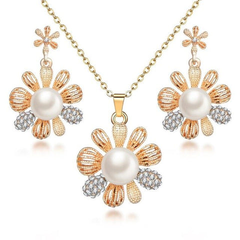Pearl Necklace Gold Silver Plated Jewelry Set For Women Clear Crystal Elegant Set