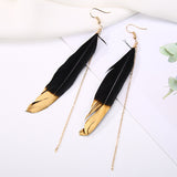 1Pair Unique Bohemian Long Chain Black Feather White Tassel For Women Girl Drop Earring Fashion Jewelry Valentines Gift