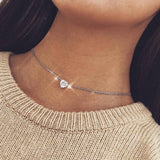 Crystal Heart Round Silver Color Choker Necklace Zircon Necklace And Invisible Transparent Fishing Line Chocker Necklace Pendant