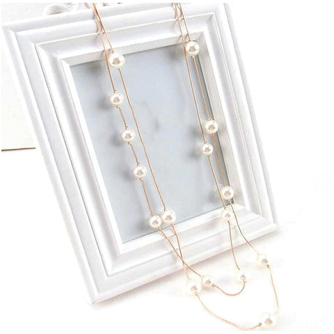 ROMAD Simple Long Double Layer Simulated Pearls Ladies Necklaces Clavicle Fashion Jewelry Sweater Chain Necklace For Women A5