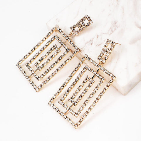 MANILAI Luxury Square Statement Earrings For Women Trendy Rhinestone Big Earrings Geometric Earings Fashion Costume Jewelry