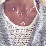 2018 New Multilayer Sequins Rhinestone Tassel Pendants Chain Necklace Choker Collar Women Jewelry  Moon Ancient Silver Necklace