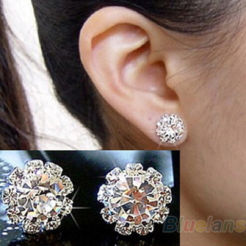 Brand New FASHION spherical Crystal Flower Stud Earrings for Women Wedding Bridal Gift e0105