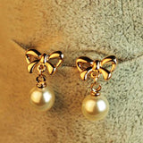 Pearl gold/silver bow/bow-less Earrings