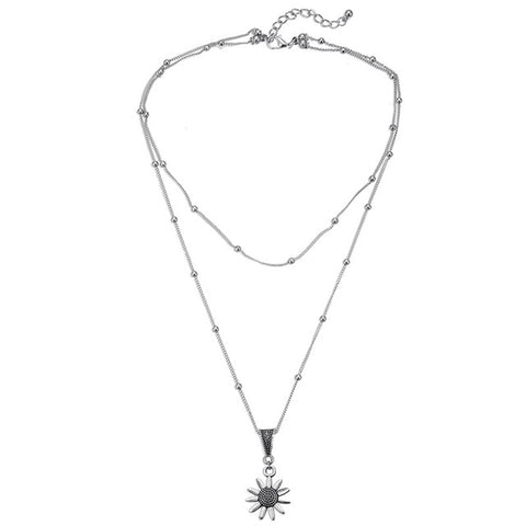 New Vintage Double Layered Sunflower Silver Chain Satellite Bead Choker Women Pendant Necklaces Simple Dainty Jewelry Gifts