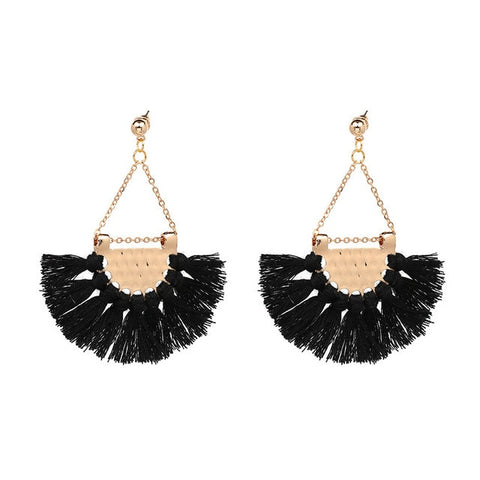 FASHIONSNOOPS 2019 Tassel Earrings Female Statement Jewelry Women Long Vintage Statement Bohemian Drop Earrings