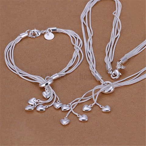 Silver 925 Jewelry Set for Women Fashion Heart Pendant Necklace Bracelets 2 pcs Costume Jewellery Sets Factory Price Bijoux