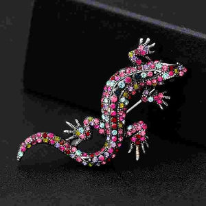 1PC Retro Crystal Micro-mosaiced Lizard Brooches For Women Men Vintage Clothes Costume Dress Large Animal Gift Jewelry Brooch