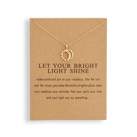 Fashion Jewelry Reminder Let Your Bright Light Shine Sun and Moon Pendant Necklace