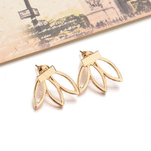 Hollow Out Lotus Flower Earrings Fashion Stud Earrings Jewelry for Women Accessories Double Sided Boucles D'oreilles  EK116