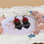 Hot sale Gothic Dangle Earrings Medieval Retro Vampire Silk Red Rose Lace Elegant Party Costume Ball Drop Earrings Women Jewelry