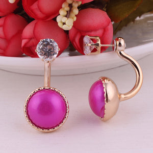 7 Colors New Double Ball Earrings Genuine Brand Gold Color Shinning Crown Double Side Pearl Stud Earrings For Women Jewelry
