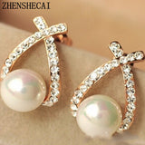 Assorted Gold Color Pearl Stud Earrings