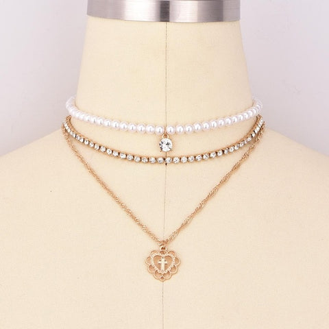 Pearl Women Necklaces & Pendants 3 Multilayered Necklace Heart Love Charm Crystal Collar Choker Layered Chain Necklace