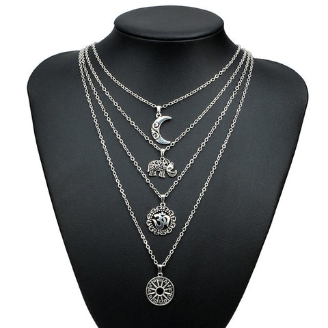 Docona Bohemian Necklaces Moon Elephant Ancient Pendent Silver Long Alloy Chain Choker Statement Necklace set Collar Femme 4498