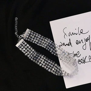 Hot Selling Rhinestone Choker Luxury Crystal Gem Necklace Glitter Collar Chocker Fashion Necklace Long Chain Jewelry For Party