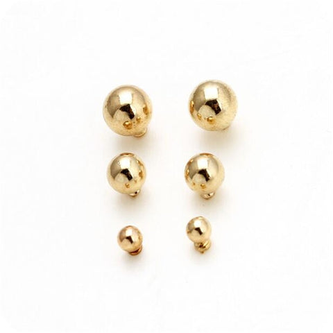 3Pairs Fashion Round Stud Earrings Set For Women Korean Style Zinc Alloy Gold Color Balls Brand Jewelry Accessories