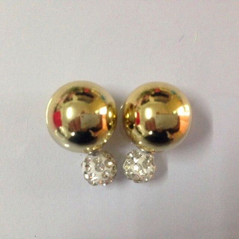 New fashion charm Gold Silver Korean Crystal Two Ball Pearls Stud Earrings Fashion double Pearl Women Earrings Gold color