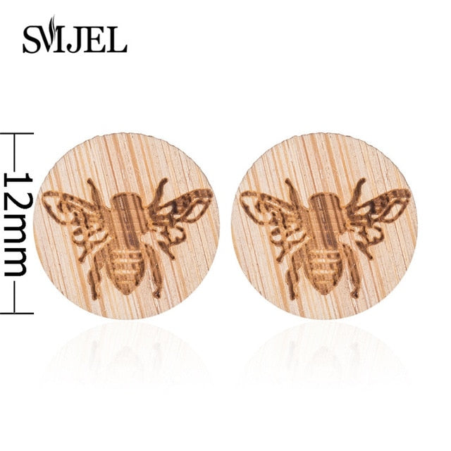 SMJEL Wood Earings Jewelry Cute Animal Fox Stud Earring for Women Girls Kids Mickey Ear Earrings Piercing Pendients Party Gifts