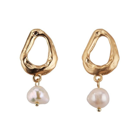 Best lady Boho Fashion Flower Freshwater Pearl Drop Earrings For Women Dangle Earrings Geometric Pendant Jewelry Gifts