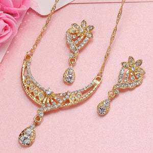 African Jewelry Set Dubai Gold Silver Jewelry Sets For Women Crystal Beads Wedding Jewelry Set Bridal Jewelry