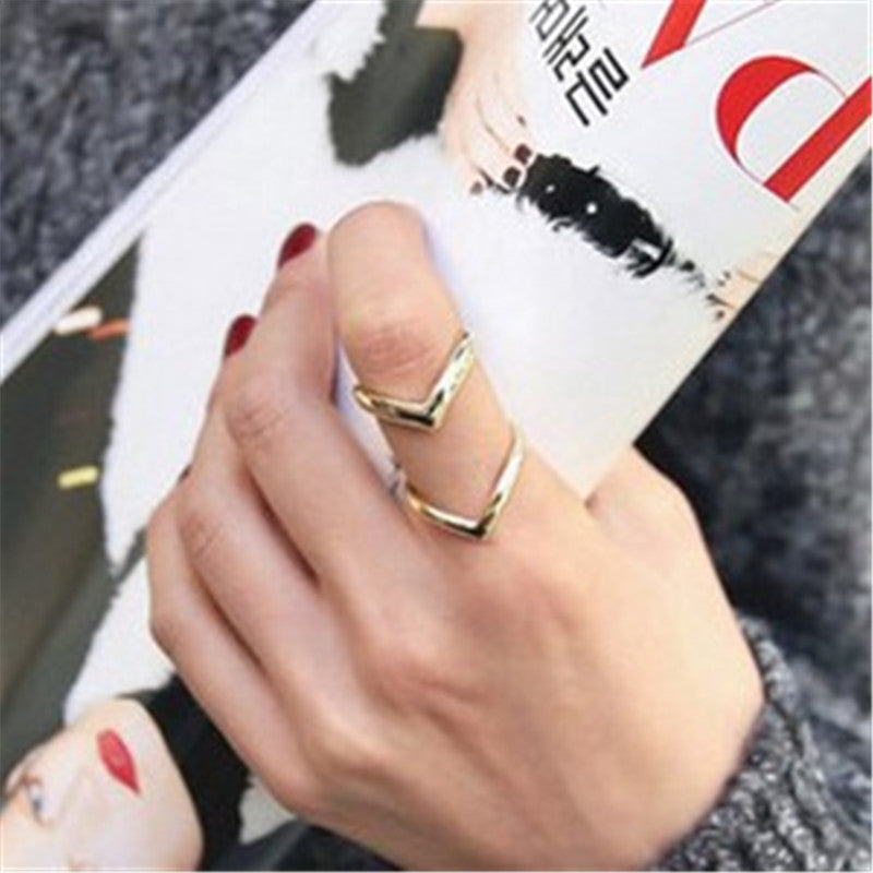 Charm Fashion Women Rings Gold Silver Double Lines V  Rings For Women Simple Geometric alloy Adjustable Rings Indian Jewelry