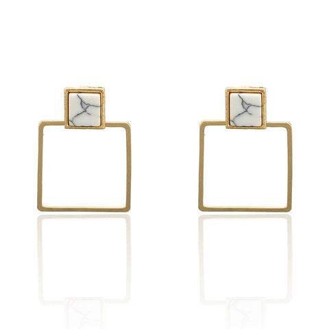 F36 Elegant Matte Metal Gold Square Heart Triangle Geometric Irregular Natural Pearl Drop Earrings For Women Girl