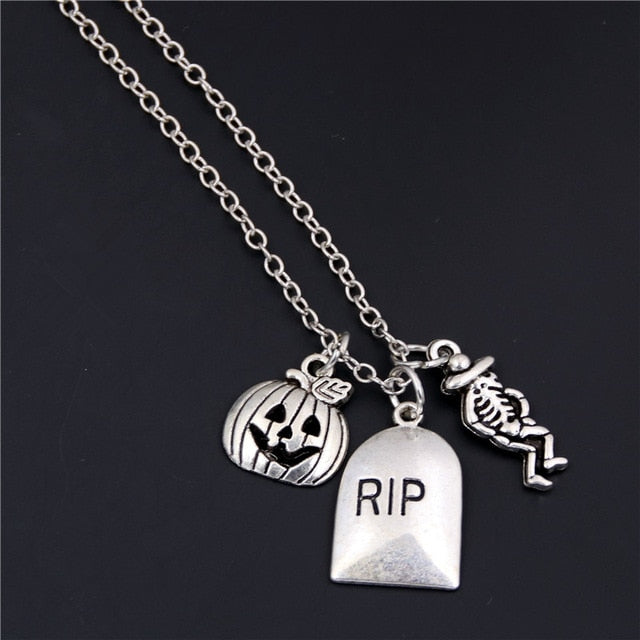 1pc 2019 Halloween Goth Jewelry Skull Charms Bat Pendant Necklace For Festival Gift For Women Witch Hat