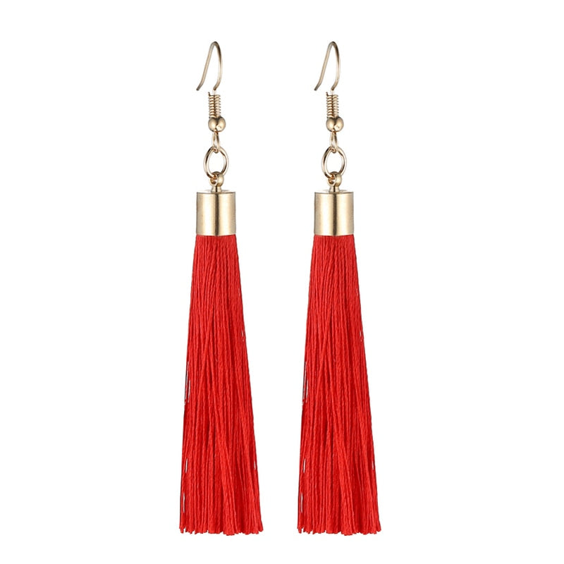 LOVBEAFAS Fringe Tassel Earrings For Women Gold Color Vintage Long Drop Dangle Earrings Fashion Wedding Jewelry Party Gift