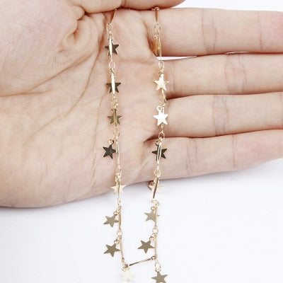 Fashion Jewerly Women Gold Silver Stars Necklace Pendant On Neck  Choker Collier Femme