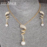 SHUANGR Vintage Pearl Necklace Gold Jewelry set for Women