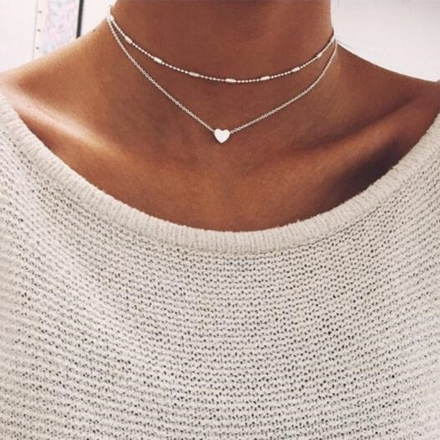 New Heart Necklace for Women Short Chain Heart Star Fashion Pendant Necklace Gift Ethnic Bohemian Choker Necklace